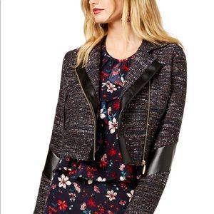 NWT Rachel Zoe tweed & faux leather jacket